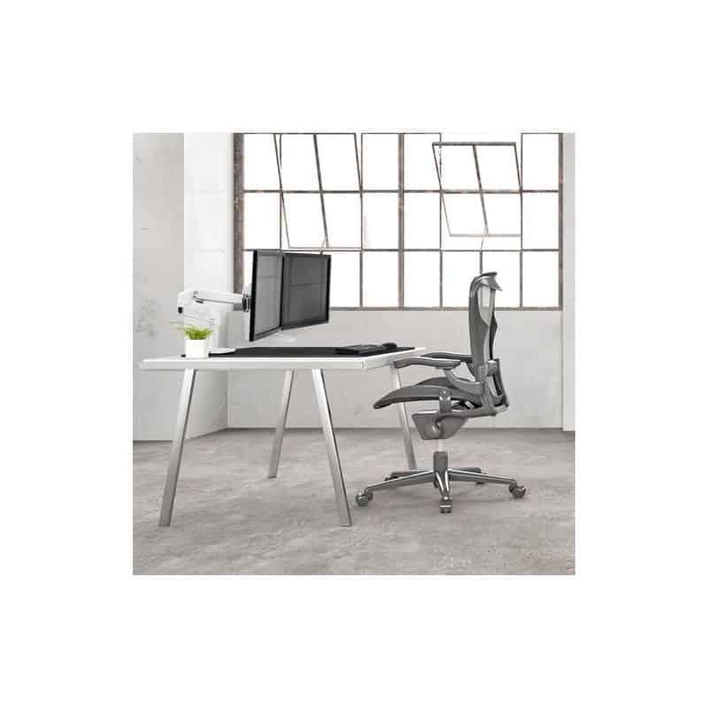 Bras LX Dual Direct bi-écrans, fixation bureau (blanc) 45-489-216