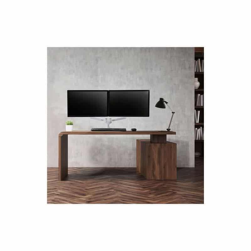 Bras LX bi-écrans juxtaposés, fixation bureau (blanc) 45-491-216