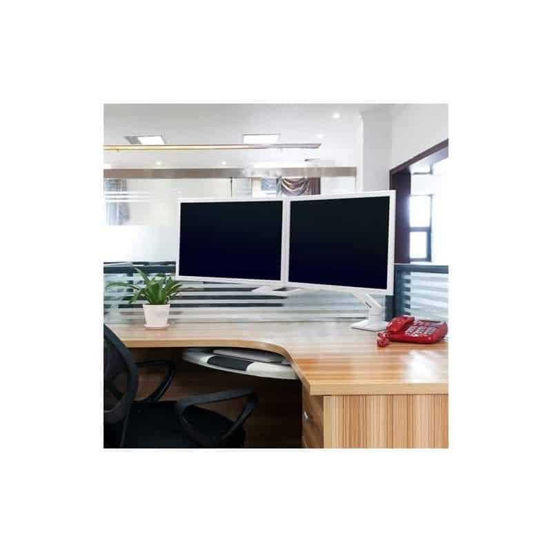 Bras HX bi-écrans, fixation bureau (blanc) 45-476-216