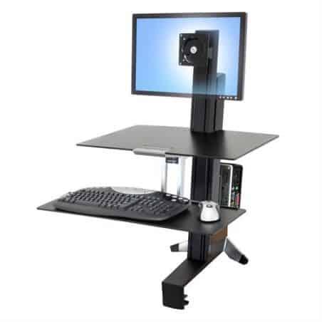 WorkFit-S, Poste mono-écran LD avec plan de travail (noir) 33-350-200