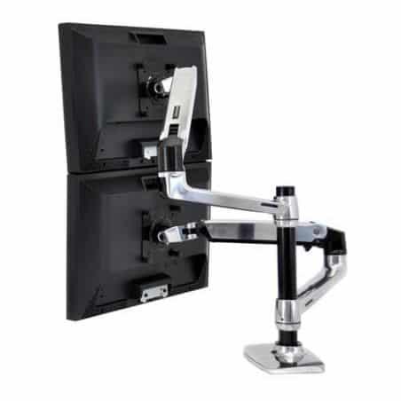 Bras LX bi-écrans superposés, fixation bureau (aluminium) 45-248-026